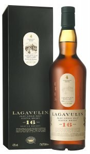Lagavulin 16-year-old single malt scotch whisky, box and bottle